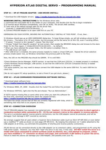 hyperion atlas digital servo – programming manual - Hyperion HK