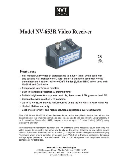 NV-652R Video Receiver Network Video Technologies