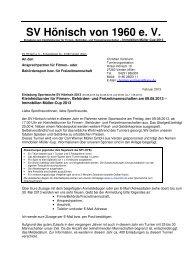 Firmen-, Behörden- und Freizeitmannschaften-Turnier - SV Hönisch