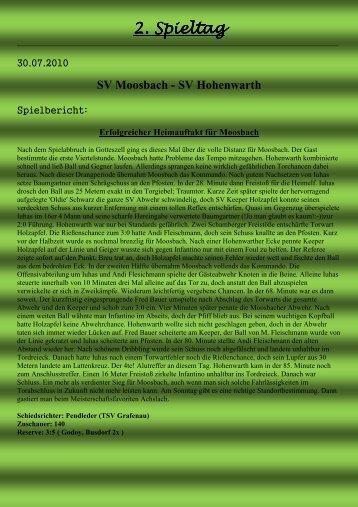 2. Spieltag . Spieltag . Spieltag - SV Moosbach