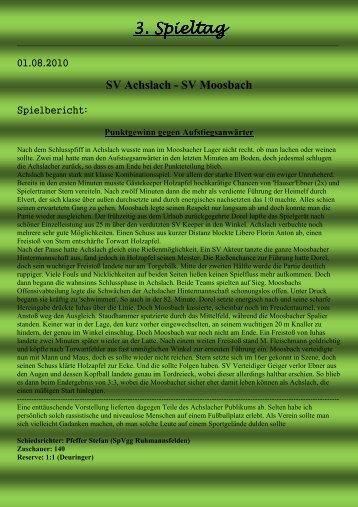 3. Spieltag . Spieltag . Spieltag - SV Moosbach