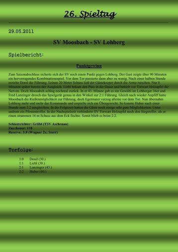 26. Spieltag . Spieltag . Spieltag - SV Moosbach