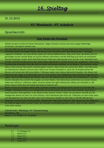 16. Spieltag . Spieltag . Spieltag - SV Moosbach