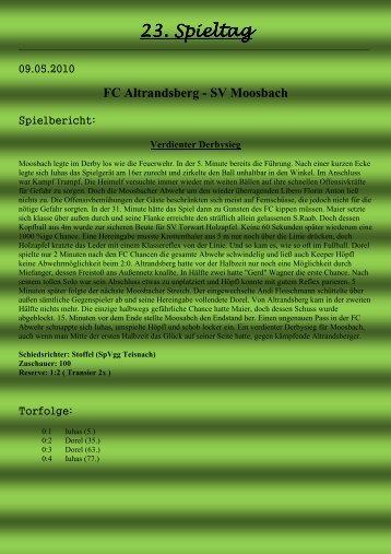 23. Spieltag - SV Moosbach