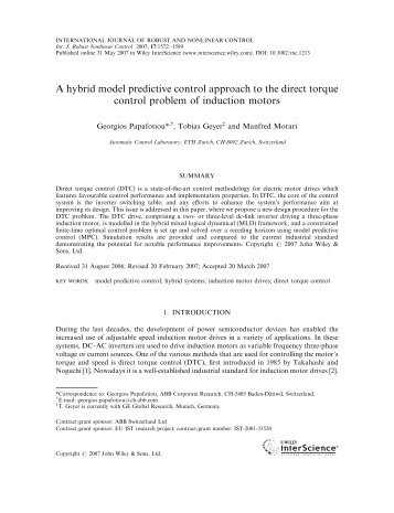 A hybrid model predictive control approach to the direct torque ...