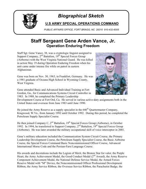 SSG Gene Vance (19th SFG) - U S  Army Special Operations