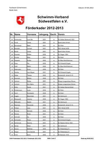 SVSW Förderkader 2012-2013 - Schwimm-Verband Südwestfalen e.V.