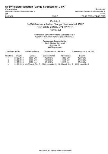 Protokoll - der SG-Dortmund Masters