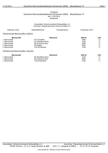 geändertes Protokoll Bezirksklasse - Schwimm-Verband ...