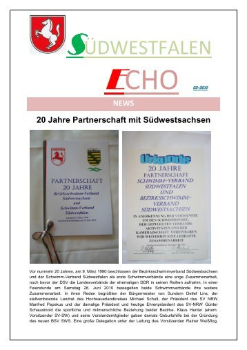 ECHO 02/2010 - Schwimm-Verband Südwestfalen e.V.