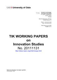TIK WORKING PAPERS on Innovation Studies No. 20111131