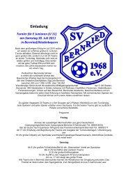 Einladung Turnier für E Junioren (U 11) am Samstag ... - SV Bernried