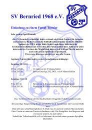 SV Bernried 1968 eV Einladung zu einem Futsal-Turnier