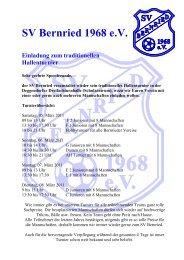 SV Bernried 1968 eV Einladung zum traditionellen Hallenturnier