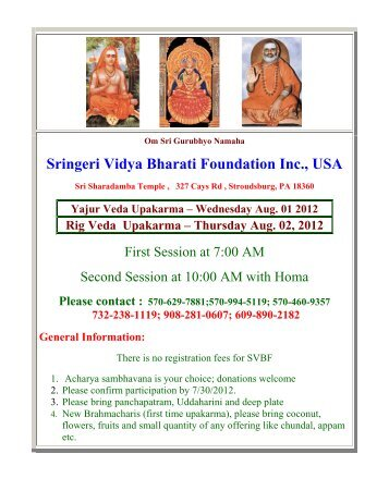Sringeri Vidya Bharati Foundation Inc., USA