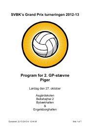 Program for 2. GP-stævne Piger