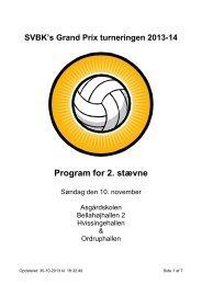 SVBK's Grand Prix turneringen 2010 Program for 2. runde Damer