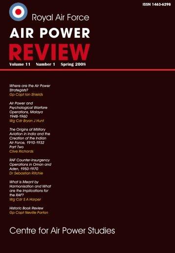 Volume 11 No 1 - Air Power Studies