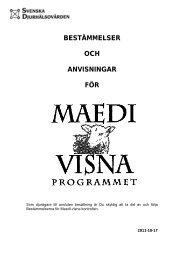 bestämmelser och anvisningar för - Svenska Djurhälsovården