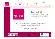 Web 2.0 Einsatz in der beruflichen Weiterbildung und der ... - SVEA
