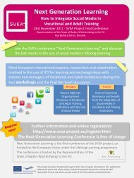 Next Generation Learning How to Integrate Social Media in ... - SVEA