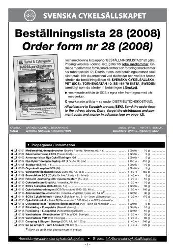 Beställningslista 28 (2008) Order form nr 28 (2008) - Svenska ...