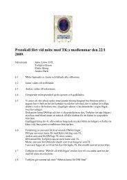 Protokoll fört vid möte med TK:s medlemmar den 22/1 2009.
