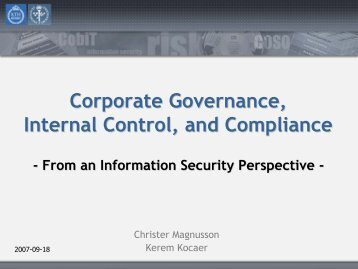 Corporate Governance, Internal Control, and Compliance