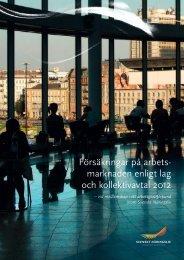 Försäkringar på arbetsmarknaden enligt lag och kollektivavtal 2012