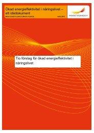 Tio förslag för ökad energieffektivitet i näringslivet - Svenskt Näringsliv