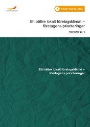 Ett bättre lokalt företagsklimat - Svenskt Näringsliv