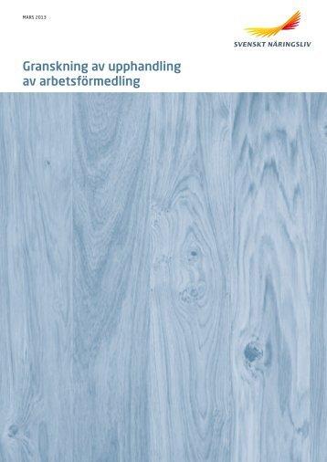 Granskning av upphandling av arbetsförmedling - Svenskt Näringsliv