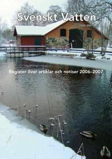 Artikelregister 2006-2007 - Svenskt Vatten