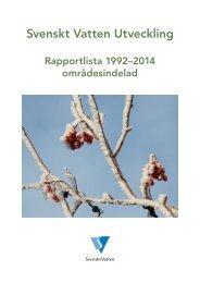 Rapportlista - områdesindelad - Svenskt Vatten