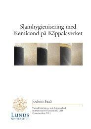 Slamhygienisering med Kemicond på Käppalaverket - Svenskt Vatten