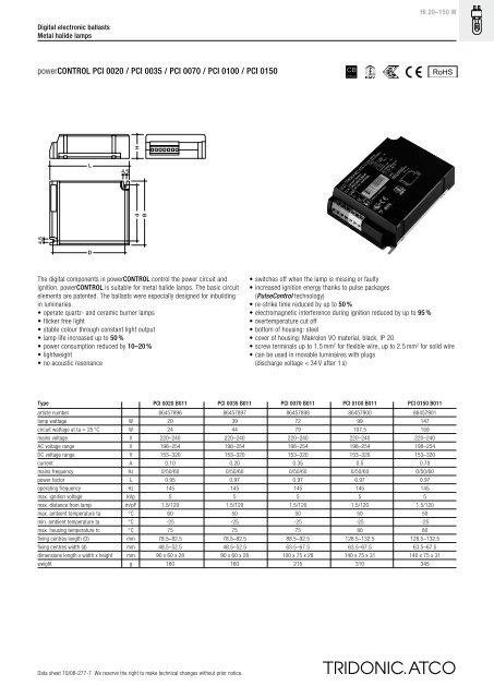 Tridonic Atco Power Control PCI 0070 B011 Lampe 70 W Art 86457898 Ballast