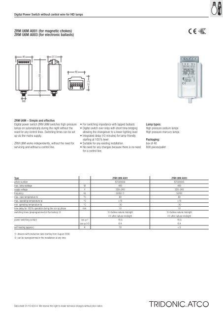 ZRM U6M A001 (for magnetic chokes) ZRM U6M A003 (for ...
