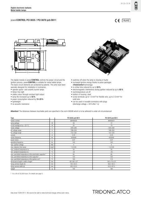 powerCONTROL PCI 0035 / PCI 0070 pcb B011