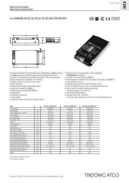 powerCONTROL PCI 20 / 22, PCI 35 / 70, PCI 100 / 150 PRO C011