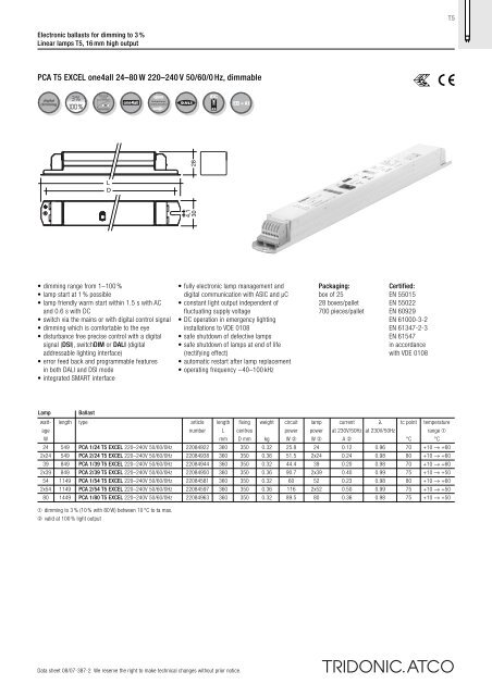 PCA T5 EXCEL one4all 24–80 W 220–240 V 50/60/0 Hz, dimmable
