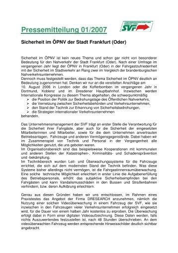 Pressemitteilung 01/2007 - bei der Stadtverkehrsgesellschaft mbH ...