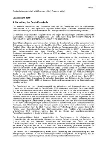 Lagebericht 2011 - bei der Stadtverkehrsgesellschaft mbH Frankfurt ...