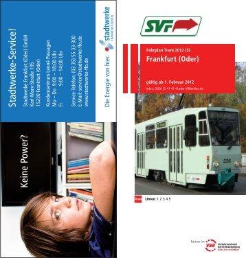 Fahrplan Tram - bei der Stadtverkehrsgesellschaft mbH Frankfurt ...