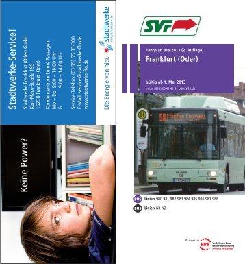 Fahrplan Bus - bei der Stadtverkehrsgesellschaft mbH Frankfurt(Oder)