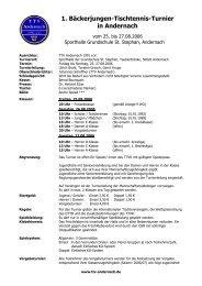 1. Bäckerjungen-Tischtennis-Turnier in Andernach - beim SV ...