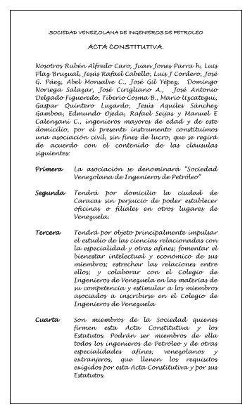 Acta Constitutiva SVIP - Sociedad Venezolana de Ingenieros de ...