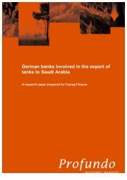 German banks involved in the export of tanks to ... - Facing Finance