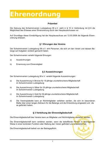 Ehrenordnung des Schwimmverein Ludwigsburg 08 e.V.
