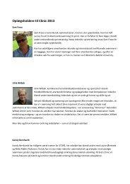 Oplægsholdere til Clinic 2013