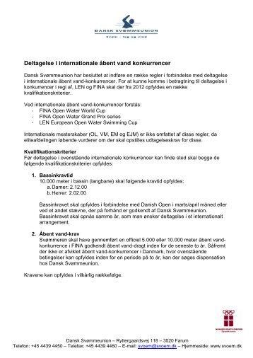Deltagelse i internationale åbent vand konkurrencer - Dansk ...